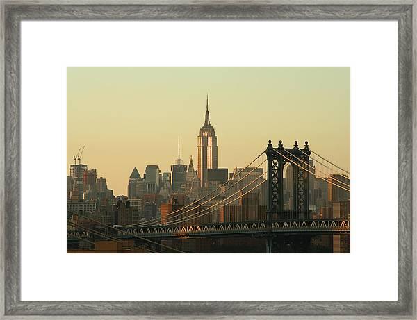 New York City Cityscape Sunrise Framed Print