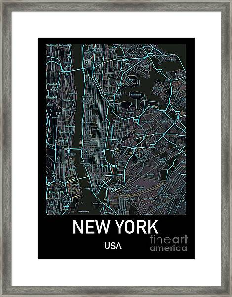 New York City Map Black Edition Framed Print