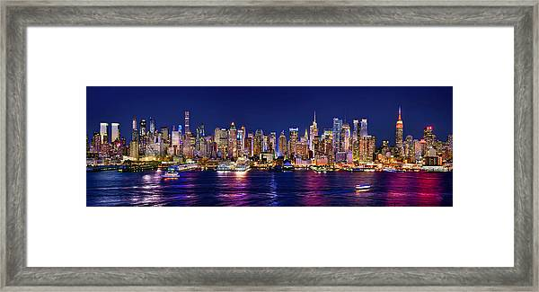 New York City Nyc Midtown Manhattan At Night Framed Print