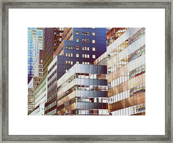 New York City Office Buildings, Abstract Framed Print