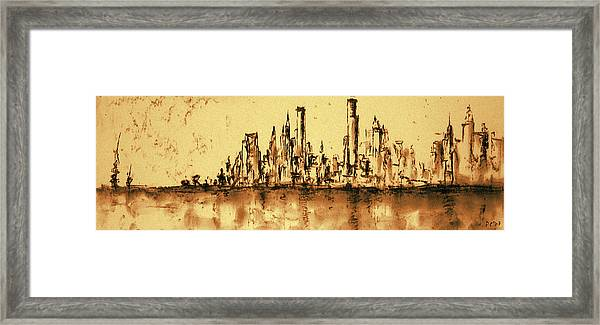New York City Skyline 79 - Water Color Drawing Framed Print