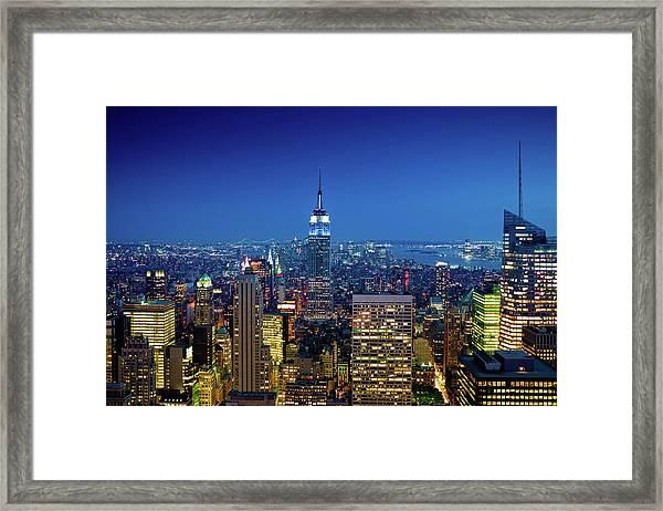 New York City Skyline At Night Framed Print