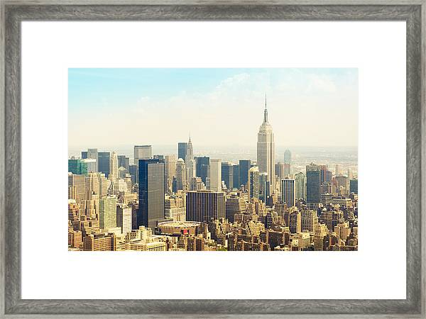New York City Skyline Town From An Framed Print