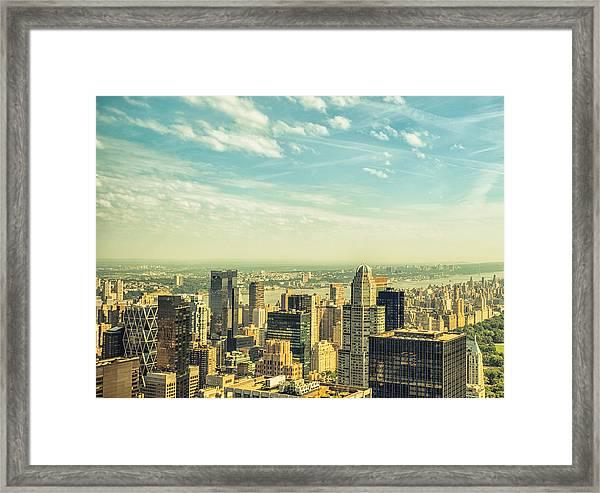 New York City Skyline With Central Park Framed Print