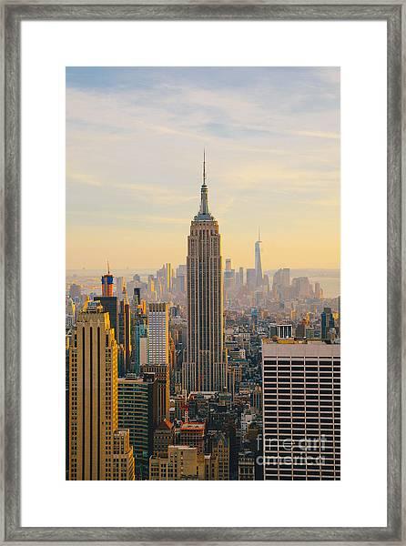 New York City Skyline With Urban Framed Print by Irina Kosareva