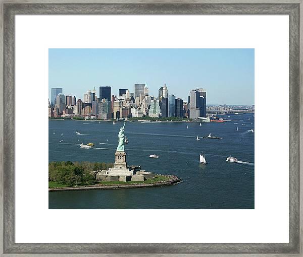 New York Harbor And Skyline Framed Print
