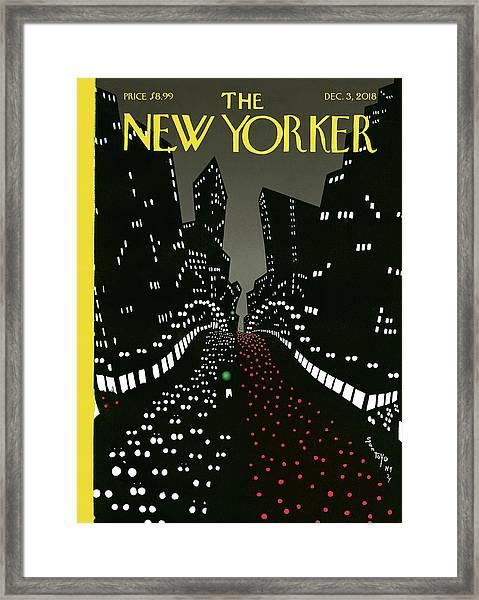New York Lights Up Framed Print