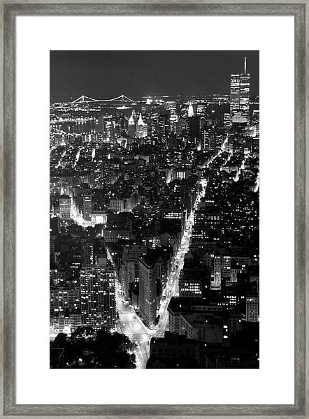 New York Skyline At Night From Empire Framed Print