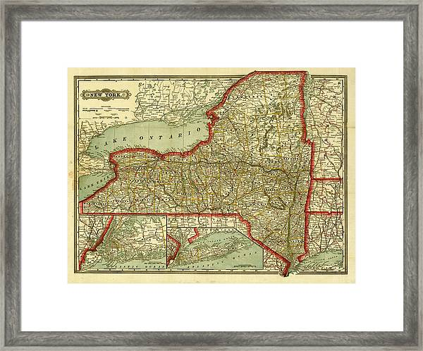 New York State Old Map Framed Print