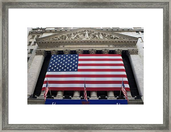 New York Stock Exchange With American Framed Print