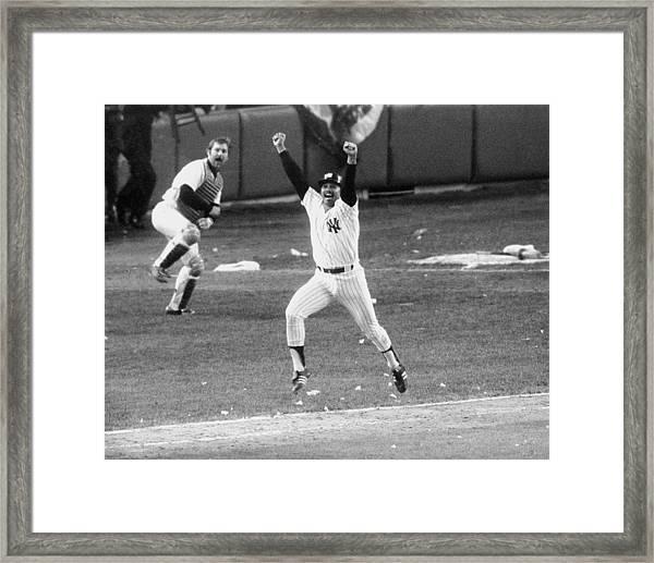 New York Yankees Chris Chambliss Jumps Framed Print