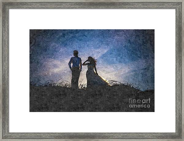 Newlywed Couple After Their Wedding At Sunset, Digital Art Oil P Framed Print