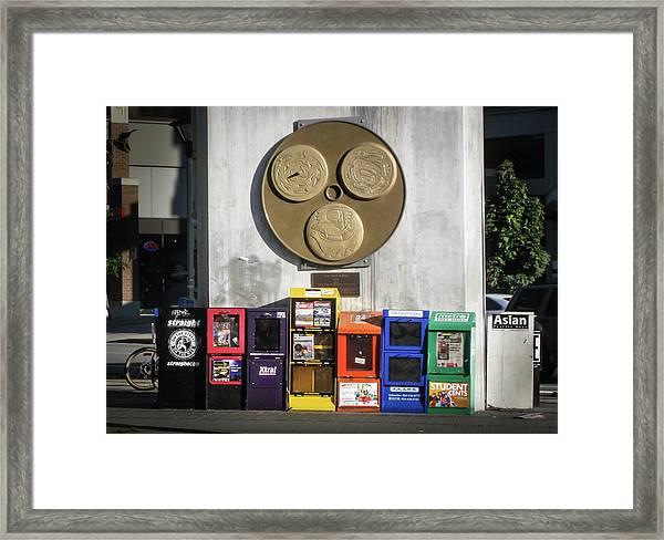 Newsstands At Gilmore Framed Print