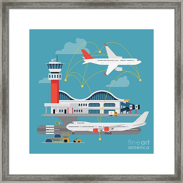 Nice Vector Concept Layout On Airport Framed Print