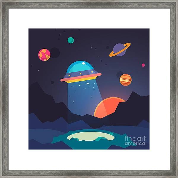Night Alien World Landscape And Ufo Framed Print