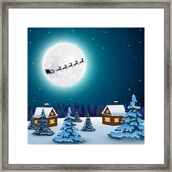Night Christmas Forest Landscape. Santa Framed Print