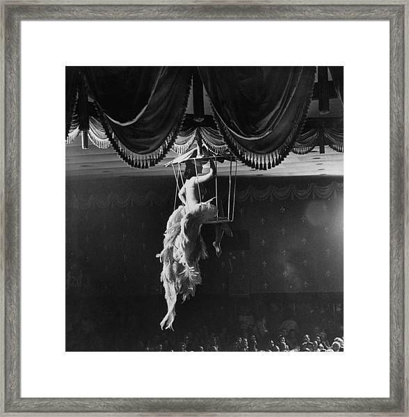 Night Club Dancer Performing A Bird Cage Framed Print