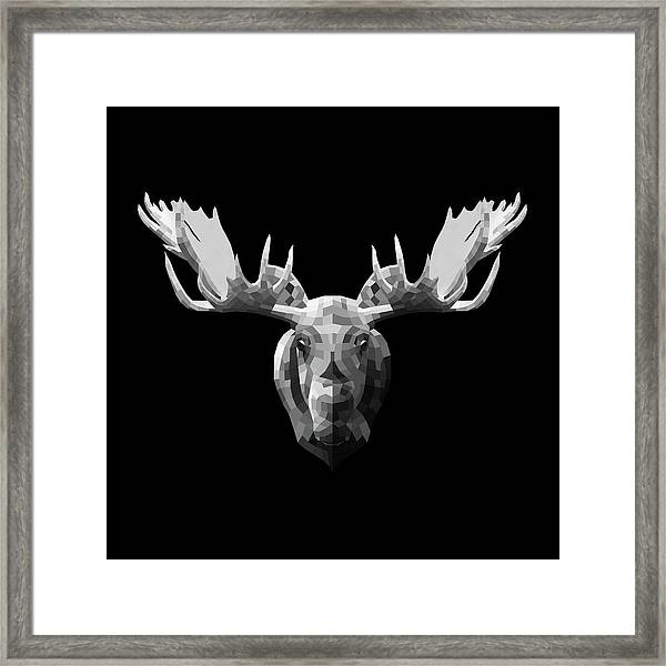 Night Moose Framed Print
