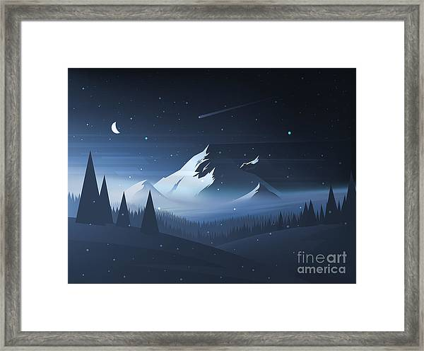Night Mountain Winter Landscape. Vector Framed Print