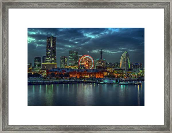 Night Piece Of Yokohama Framed Print