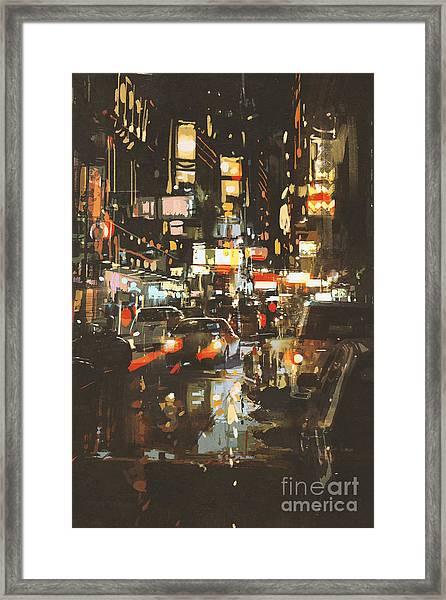 Night Scene Of A Street In Framed Print