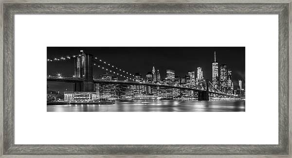 Night-skyline New York City Bw Framed Print