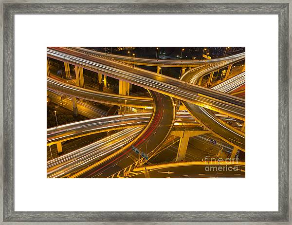 Night Skyline View Of Shanghai City And Framed Print