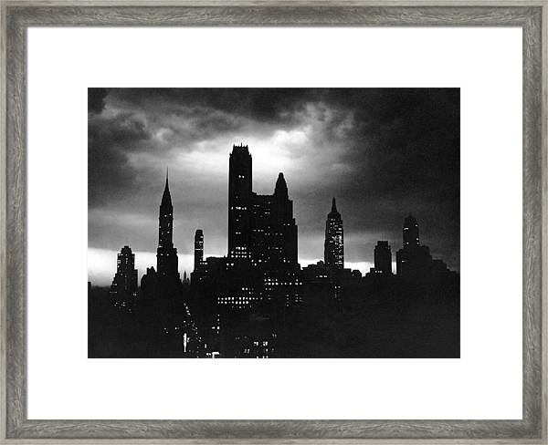 Night Time View Of City, Nyc Framed Print