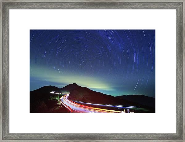Night Traffic Trails Framed Print
