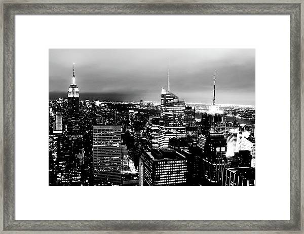 Night View Of New York Framed Print by Night View Of New York City From Rockefeller Center