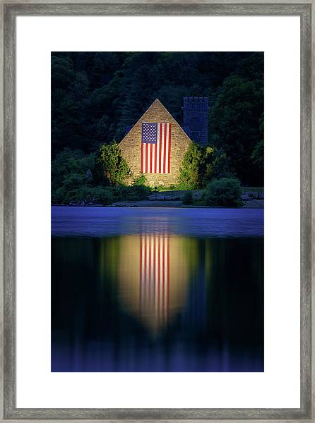 Nightfall At The Old Stone Church Framed Print
