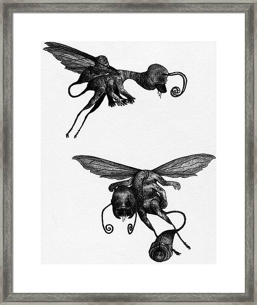 Framed Print featuring the drawing Nightmare Stinger - Artwork by Ryan Nieves