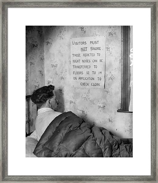 No Snoring Framed Print