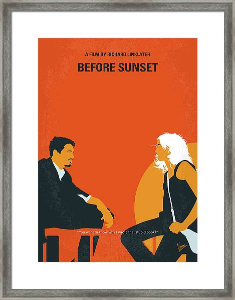 No1012 My Before Sunset Minimal Movie Poster Framed Print