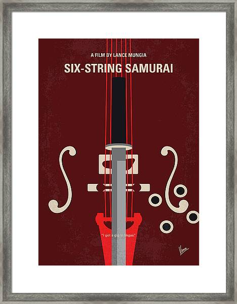No1020 My Six-string Samurai Minimal Movie Poster Framed Print