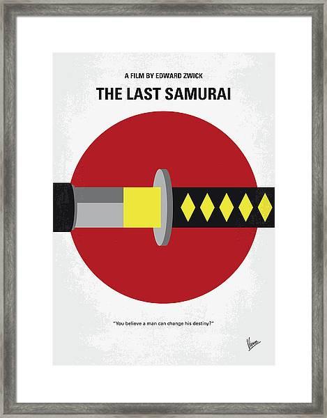 No980 My Last Samurai Minimal Movie Poster Framed Print