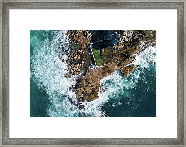 Framed Print featuring the pyrography North Curl Curl Pool by Chris Cousins