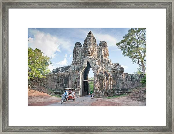 North Gate, Angkor Thom, Angkor, Unesco Framed Print by Andrew Stewart / Robertharding