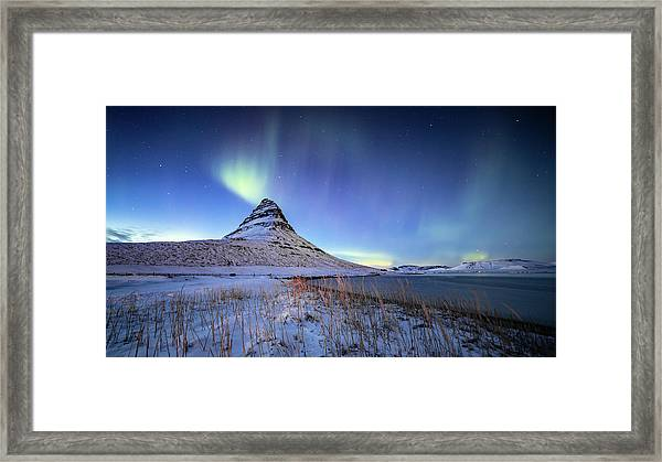 Northern Lights Atop Kirkjufell Iceland Framed Print