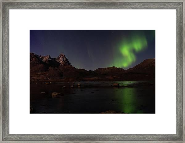 Northern Lights Aurora Borealis In Norway Framed Print