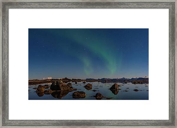 Northern Lights Over A Swamp  Framed Print