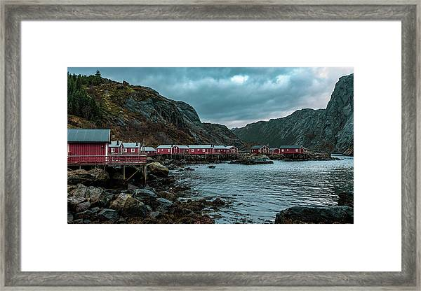 Norway Panoramic View Of Lofoten Islands In Norway With Sunset Scenic Framed Print