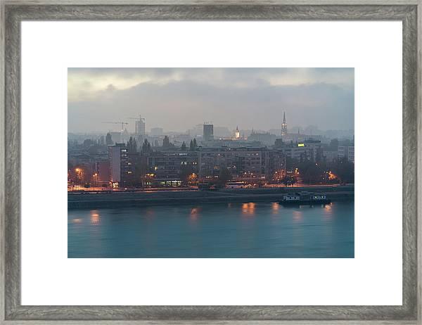 Framed Print featuring the photograph Novi Sad Night Cityscape by Milan Ljubisavljevic