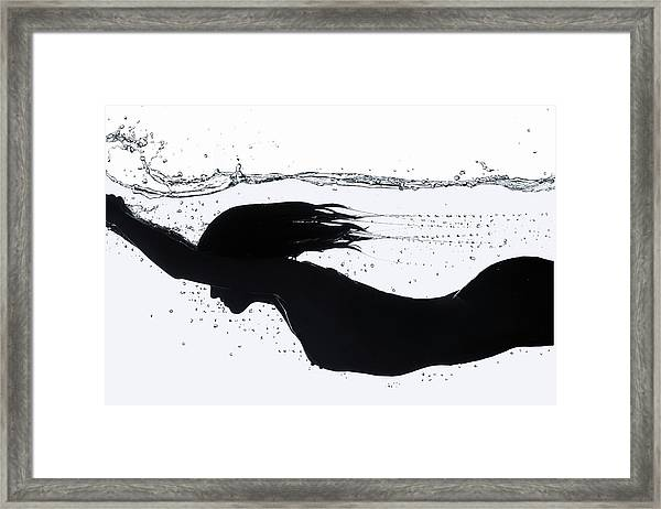 Nude Diving, Silhouette Framed Print