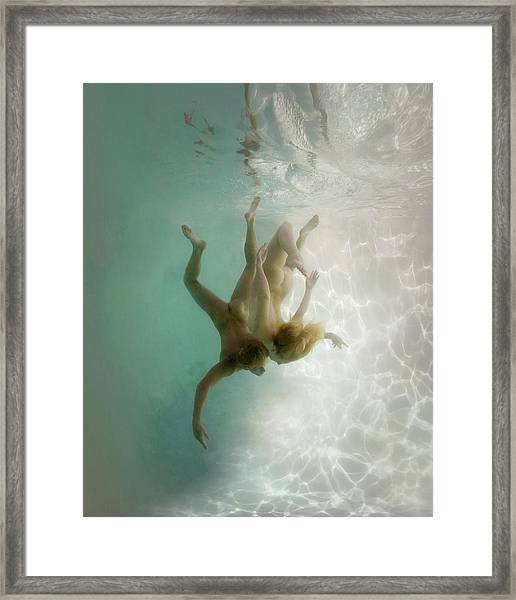 Nude Man And Woman Underwater Framed Print by Ed Freeman