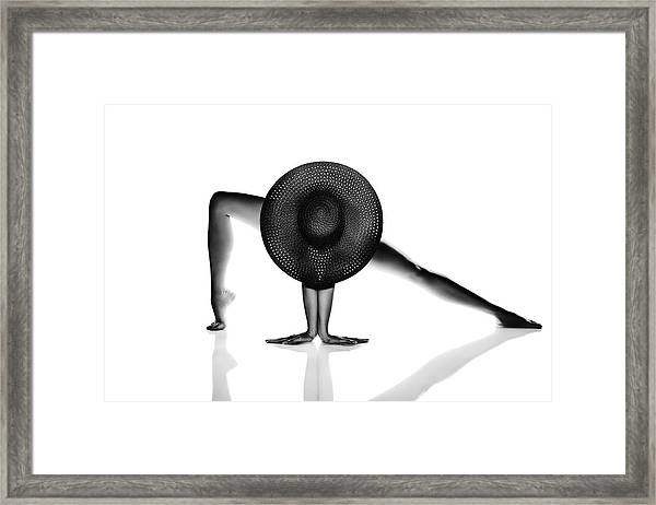 Nude Woman Black Hat Framed Print