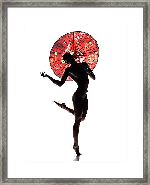 Nude Woman With Red Parasol Framed Print