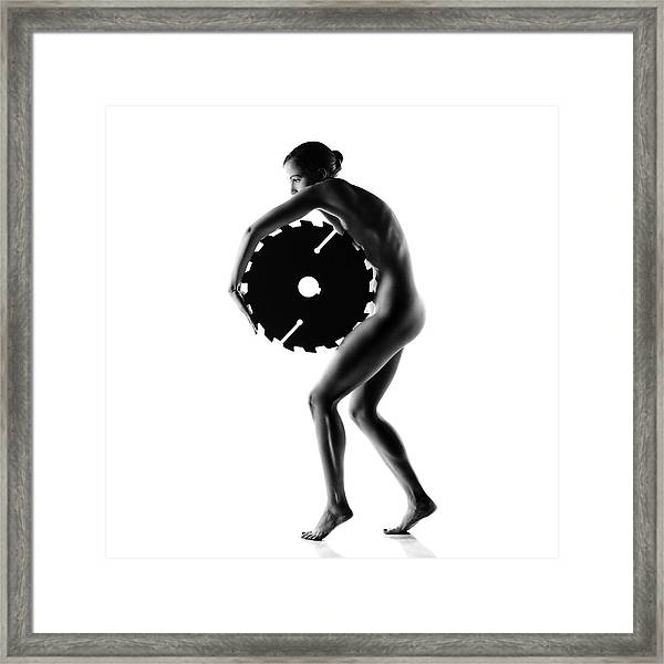 Nude Woman With Saw Blade 1 Framed Print