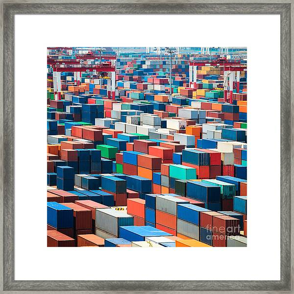 Numerous Shipping Containers In Port Framed Print