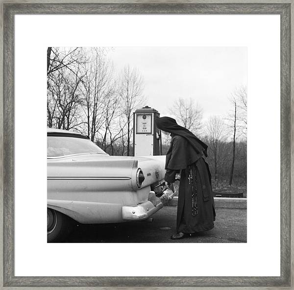 Nun Driver Framed Print